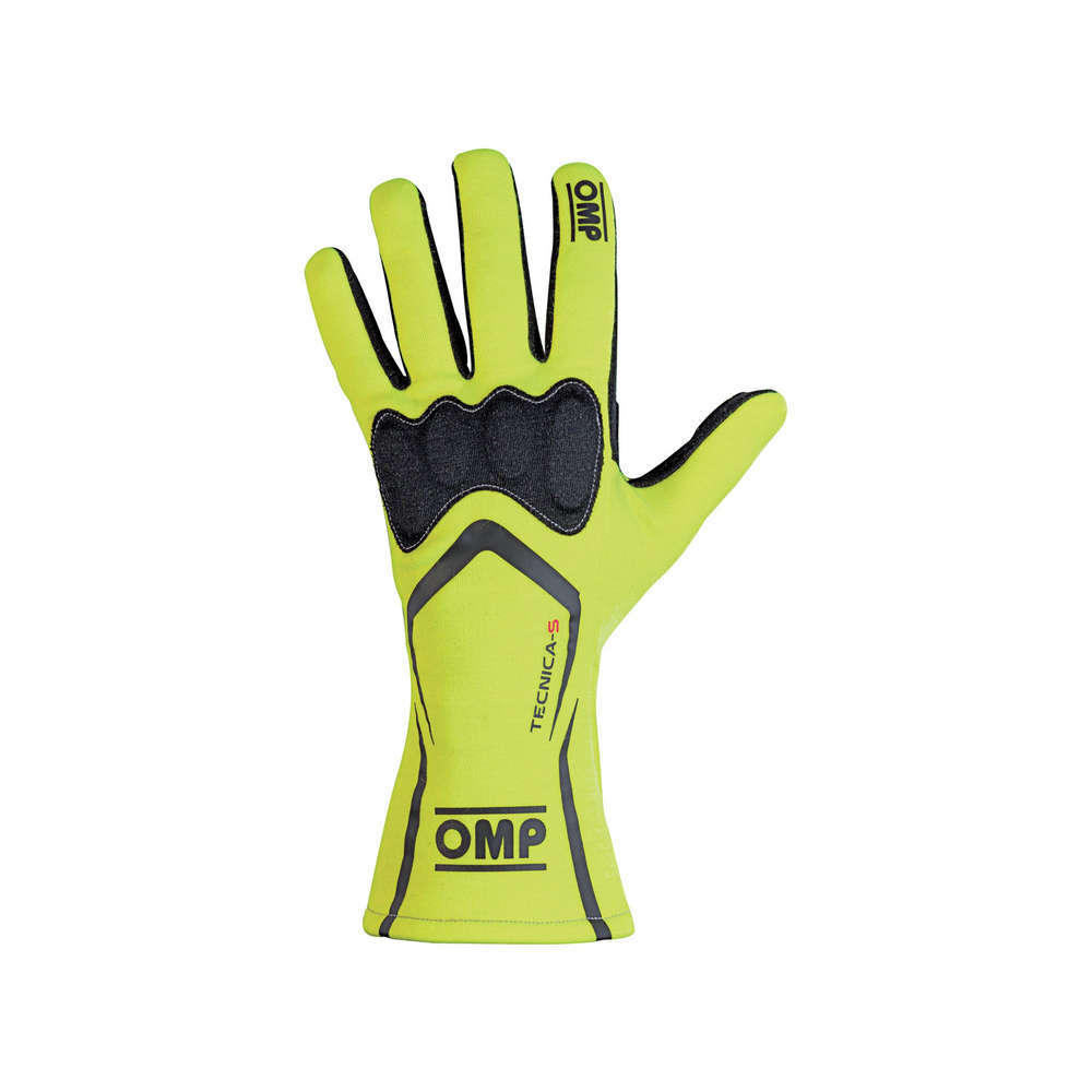 OMP Racing IB764GFL Gloves, Tecnica-S, Driving, FIA Approved, Double Layer, Fire Retardant Fabric, Fluorescent Yellow, Large, Pair