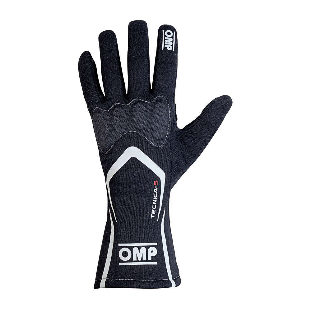 OMP Racing IB764NS Gloves, Tecnica-S, Driving, FIA Approved, Double Layer, Fire Retardant Fabric, Black, Small, Pair