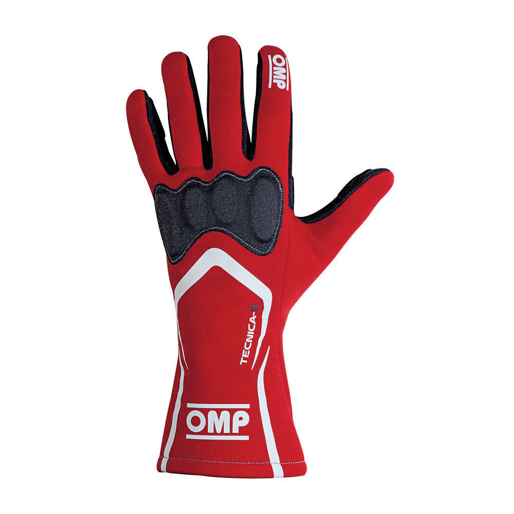 OMP Racing IB764RXL Gloves, Tecnica-S, Driving, FIA Approved, Double Layer, Fire Retardant Fabric, Red, X-Large, Pair