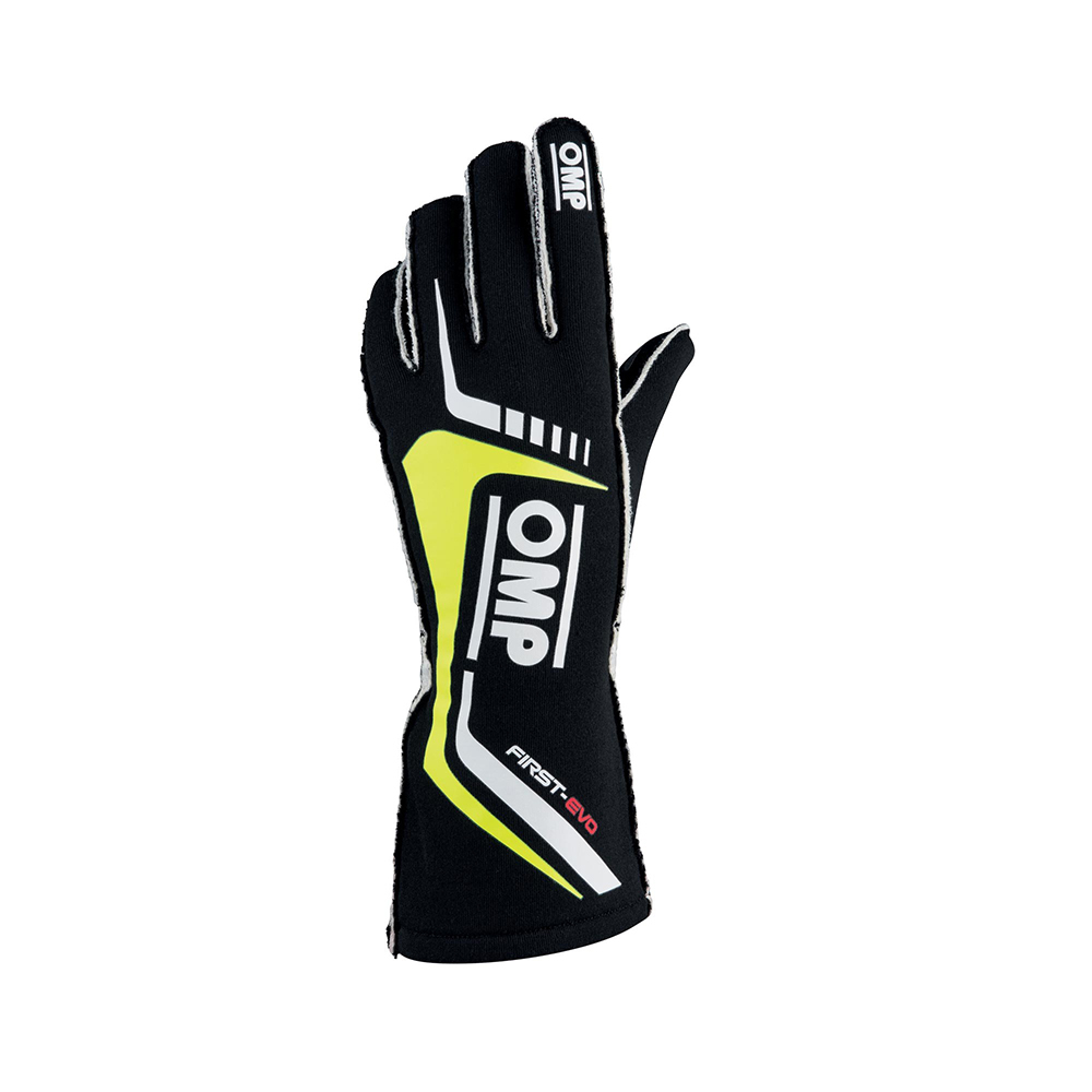OMP Racing IB767NGIL Gloves, First EVO, Driving, FIA Approved, Double Layer, Fire Retardant Fabric, Black, Yellow Stripe, Large, Pair