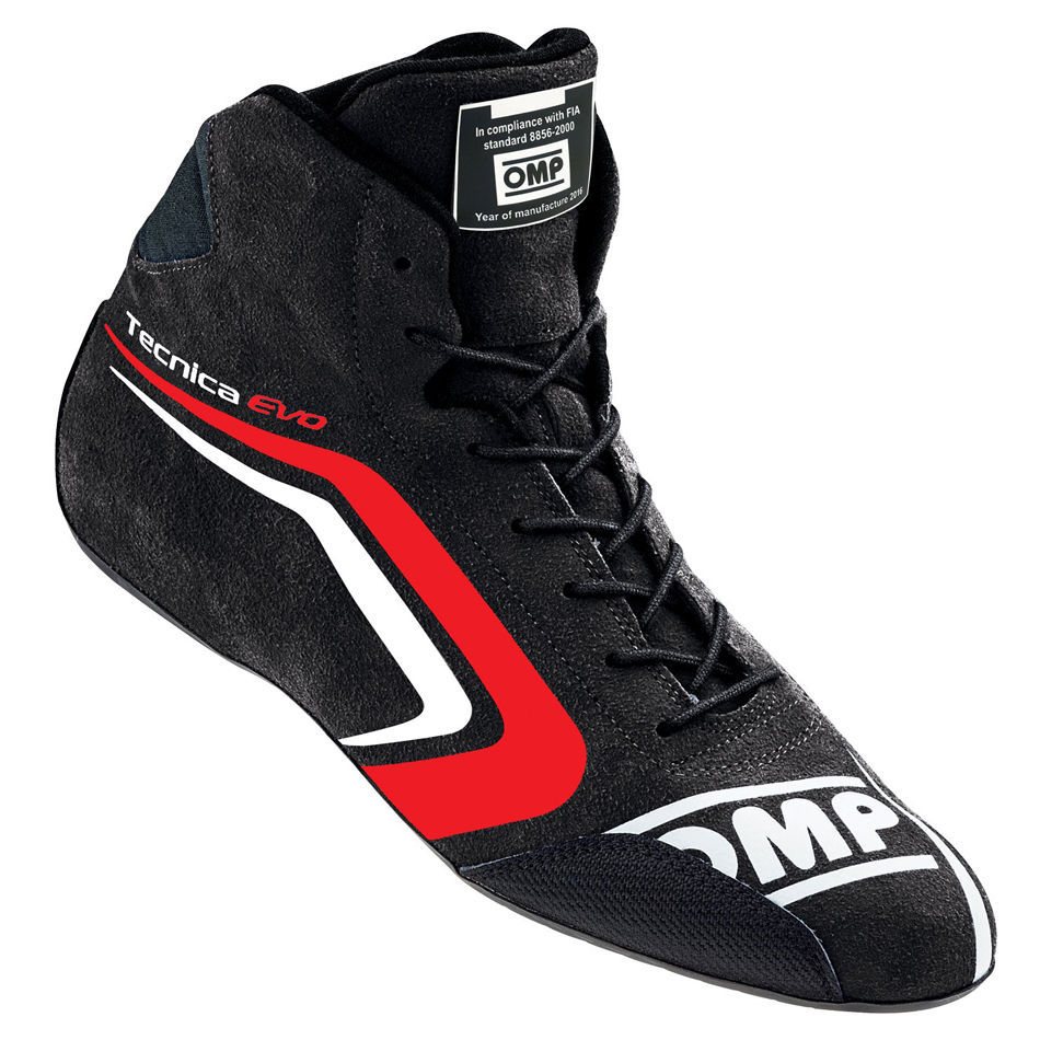 OMP Racing IC803E07345 Shoe, Tecnica Evo, Driving, Mid-Top, FIA Approved, Suede Leather Outer, Fire Retardant Fabric Inner, Black, Size 10-1/2, Pair