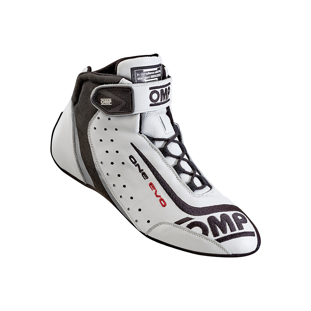 OMP Racing IC80602045 Shoe, One Evo, Driving, Mid-Top, FIA Approved, Suede Leather Outer, Fire Retardant Fabric Inner, White, Size 11-1/2, Pair