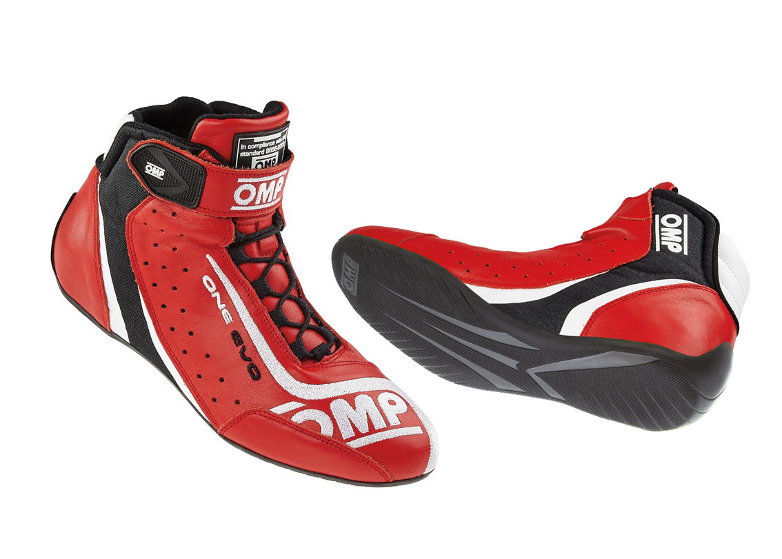 OMP Racing IC80606140 Shoe, One Evo, Driving, Mid-Top, FIA Approved, Suede Leather Outer, Fire Retardant Fabric Inner, Red, Size 6-1/2, Pair
