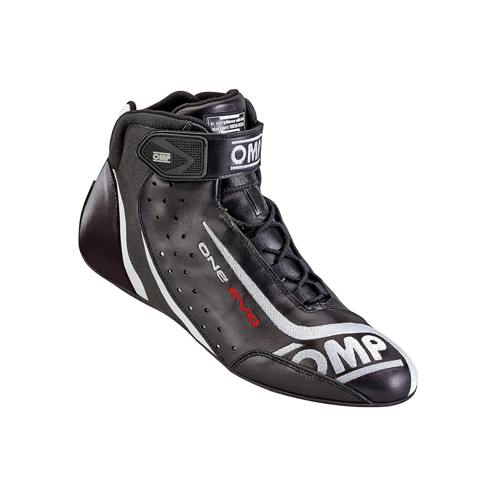 OMP Racing IC80607138 Shoe, One Evo, Driving, Mid-Top, FIA Approved, Suede Leather Outer, Fire Retardant Fabric Inner, Black, Size 5-1/2, Pair