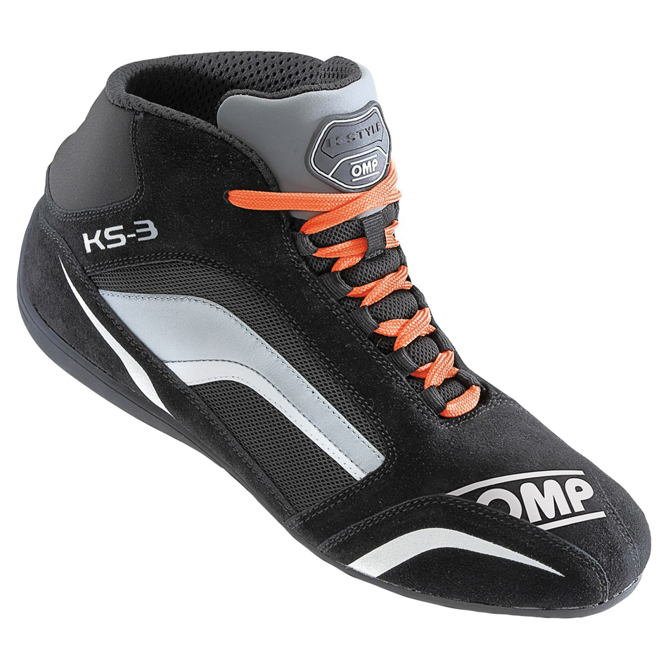 OMP Racing IC81307740 Shoe, KS-3, Driving, Mid-Top, FIA Approved, Suede Leather Outer, Fire Retardant Fabric Inner, Black / Gray, Size 6-1/2, Pair