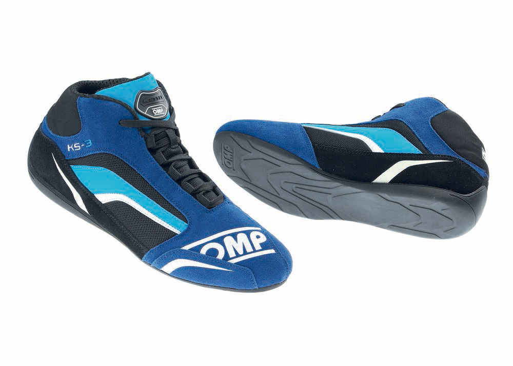 OMP Racing IC81324143 Shoe, KS-3, Driving, Mid-Top, FIA Approved, Suede Leather Outer, Fire Retardant Fabric Inner, Black / Blue, Size 9, Pair