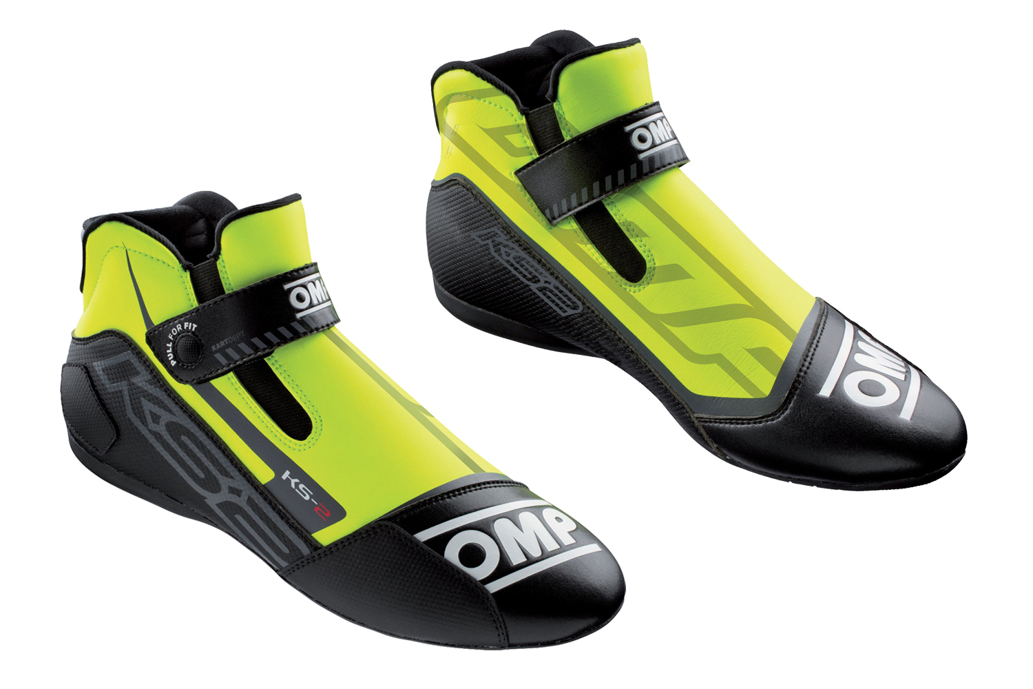OMP Racing IC82505944 Shoe, KS-2, Driving, Mid-Top, FIA Approved, Suede Leather Outer, Fire Retardant Fabric Inner, Fluorescent Yellow / Black, Size 10, Pair
