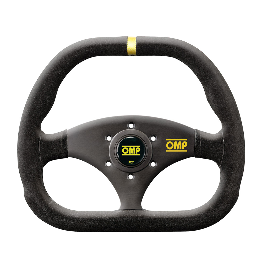 OMP Racing OD1985NN Steering Wheels, Kubik, 310 x 265 mm Diameter, 3 Spoke, Flat, Suede Leather Grip, Yellow Stripe, Aluminum, Black Anodized, Each
