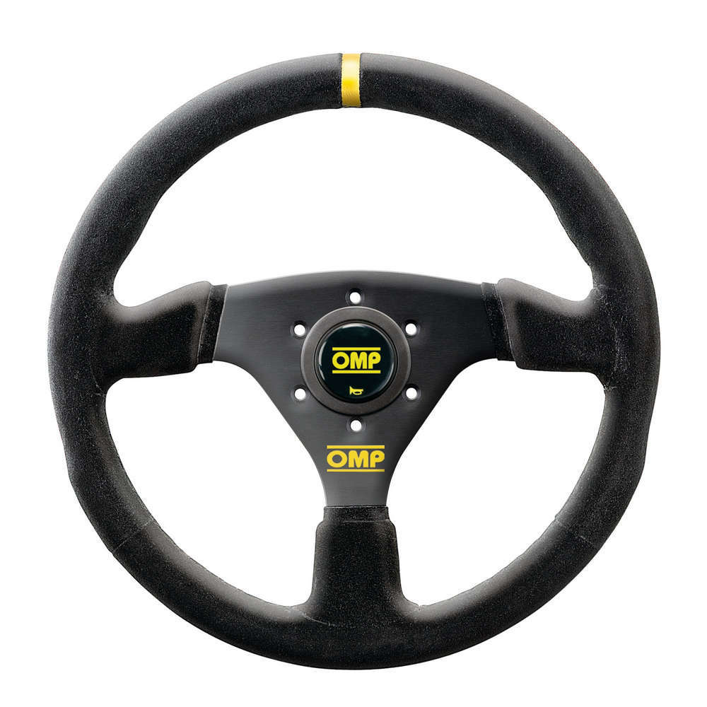 OMP Racing OD2005NN Steering Wheel, Targa, 330 mm Diameter, 3-Spoke, Leather Grip, Aluminum, Black Anodize, Each