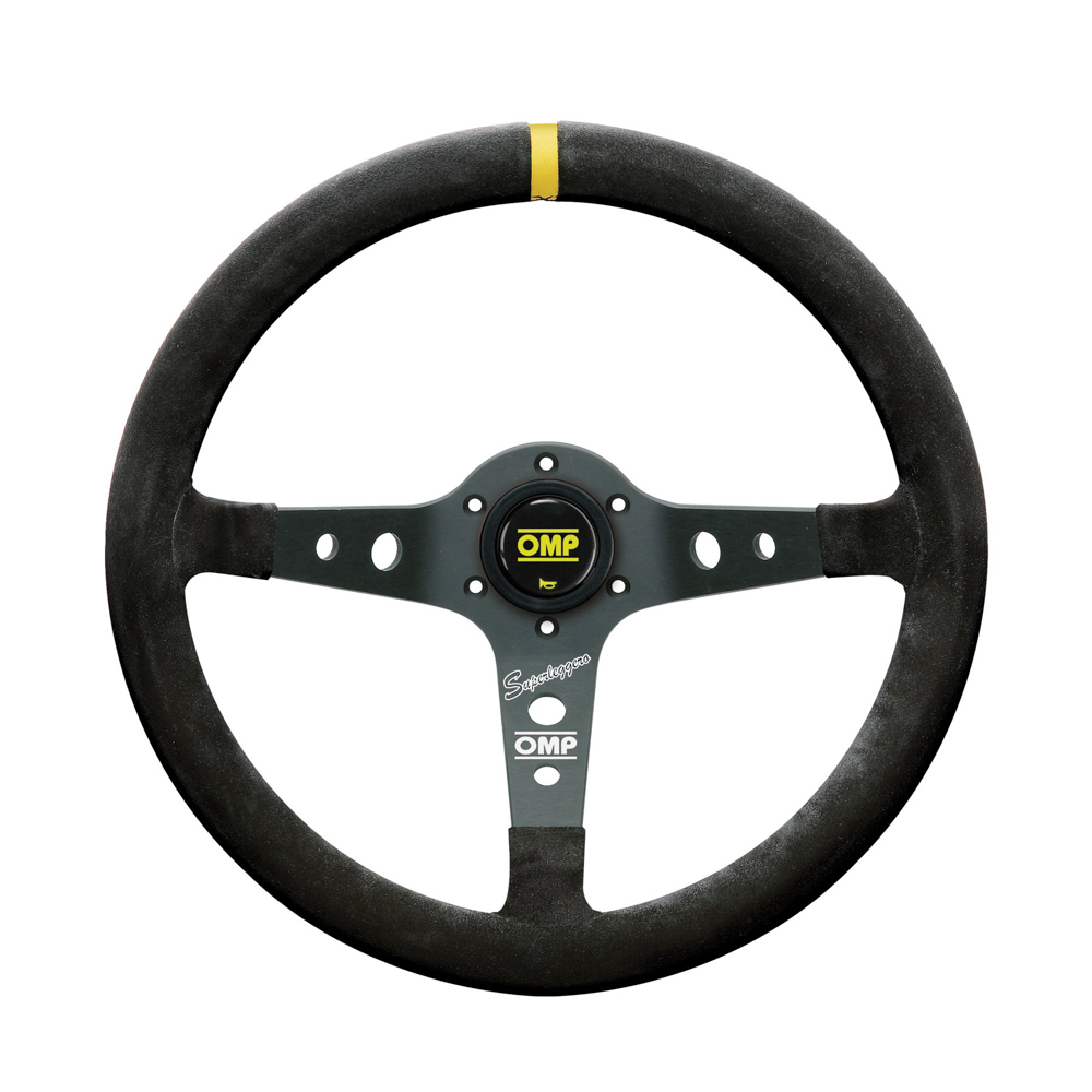 OMP Racing OD2021N Steering Wheels, Corsica Superleggero, 350 mm Diameter, 95 mm Dish, 3 Spoke, Black Suede Grip, Aluminum, Black Anodized, Each