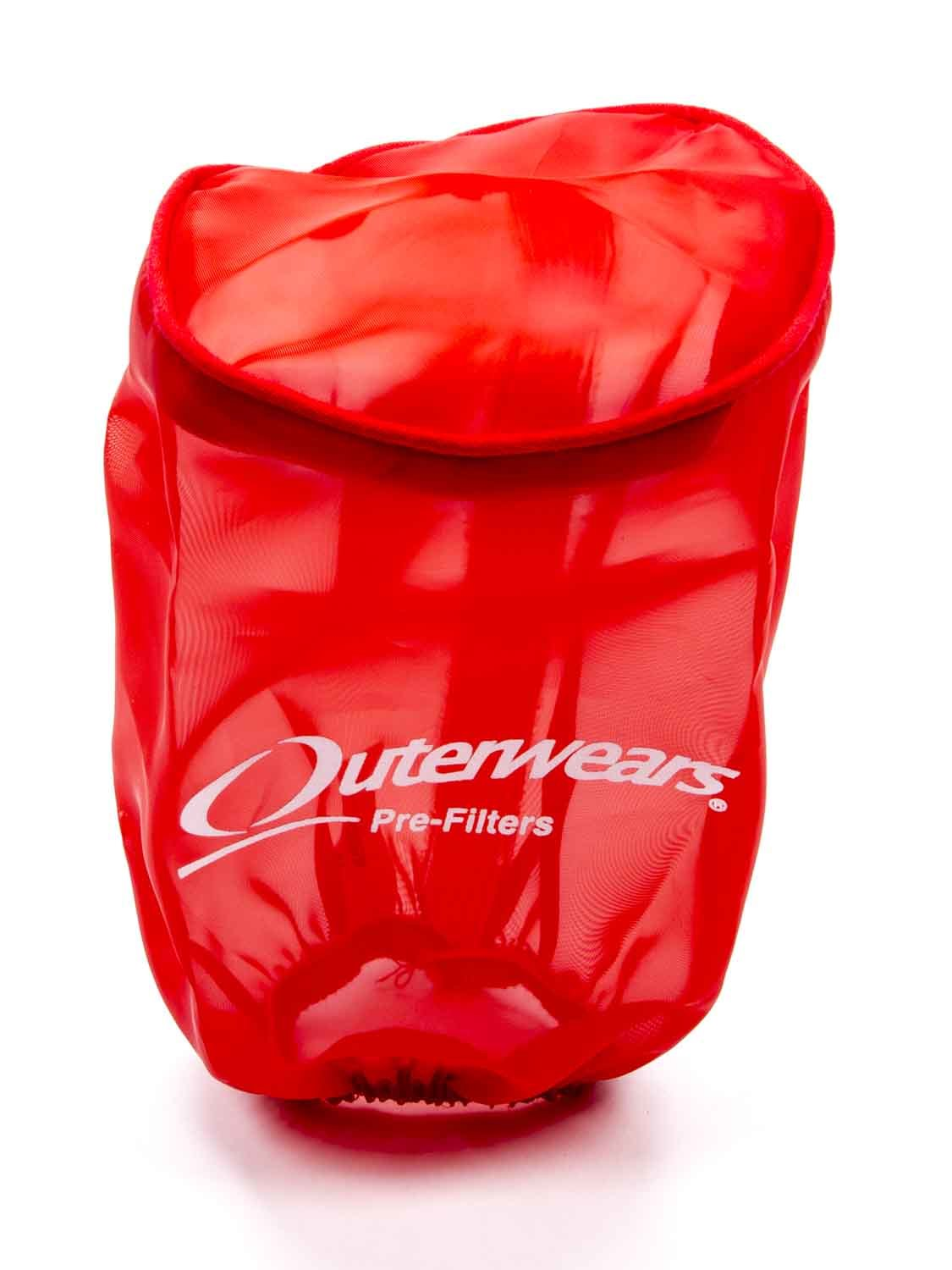 Outerwears 10-1010-03 Air Filter Wrap, Pre Filter, 3-1/2 in OD, 6 in Tall, Top, Polyester, Red, Each