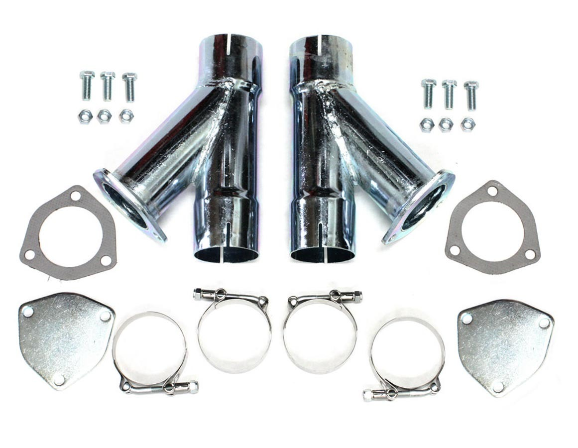 Patriot Exhaust H1130 Exhaust Cut-Out, Manual, Clamp-On, Dual, 2-1/2 in Pipe Diameter, Blockoff Plates / Hardware Included, Steel, Zinc Plated, Kit