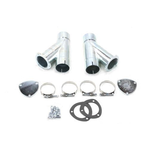 Patriot Exhaust H1132 Exhaust Cut-Out, Manual, Clamp-On, Dual, 3 in Pipe Diameter, Blockoff Plates / Hardware Included, Steel, Zinc Plated, Kit