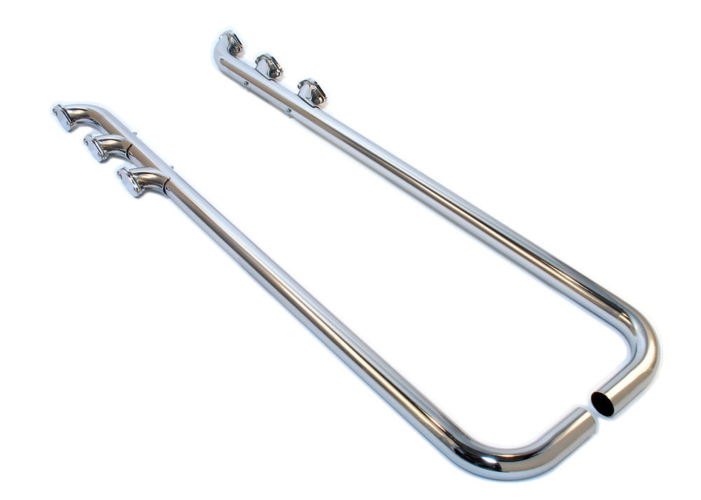 Patriot Exhaust H1284 Exhaust Side Pipes, Triple Low Line Lake Pipe, 80 in Long, 2 in Inlet, 2 in Outlet, Steel, Chrome, Universal, Pair