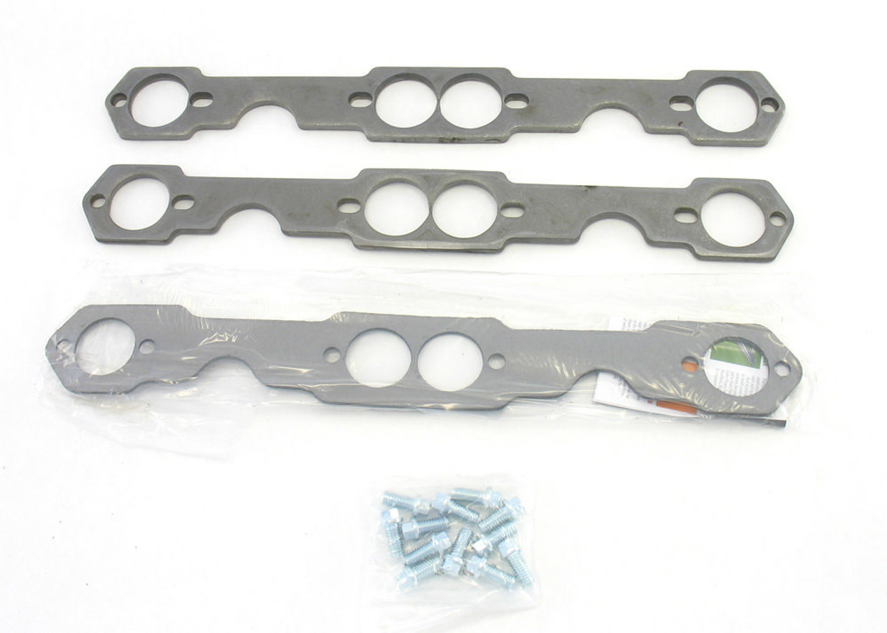 Patriot Exhaust H7864 Header Flange, 5/16 in Thick, 1-5/8 in Round Port, Bolts / Gaskets, Steel, Small Block Chevy, Kit