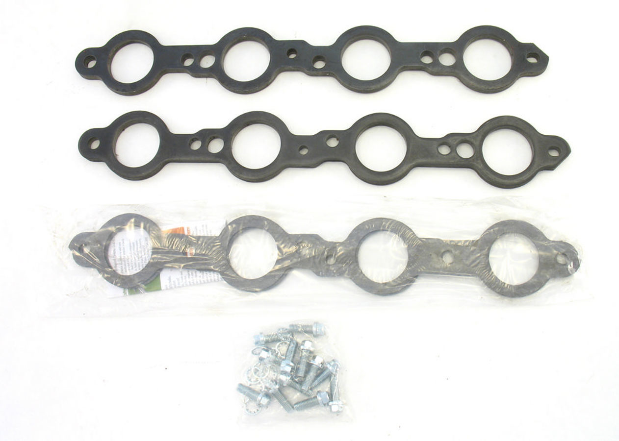 Patriot Exhaust H7893 Header Flange, 3/8 in Thick, 1-3/4 in SAP Port, Bolts / Gaskets, Steel, GM LS-Series, Kit