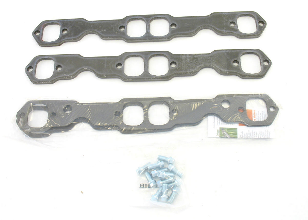 Patriot Exhaust H7894 Header Flange, 5/16 in Thick, 1-3/4 in Port, Bolts / Gaskets, Steel, Small Block Chevy, Kit