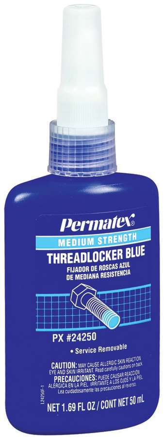 Permatex 24250 Thread Locker, Blue, Medium Strength, 50 ml Bottle, Each