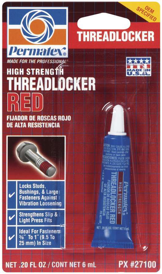 Permatex 27100 Thread Locker, Red, High Strength, 6 ml Tube, Each