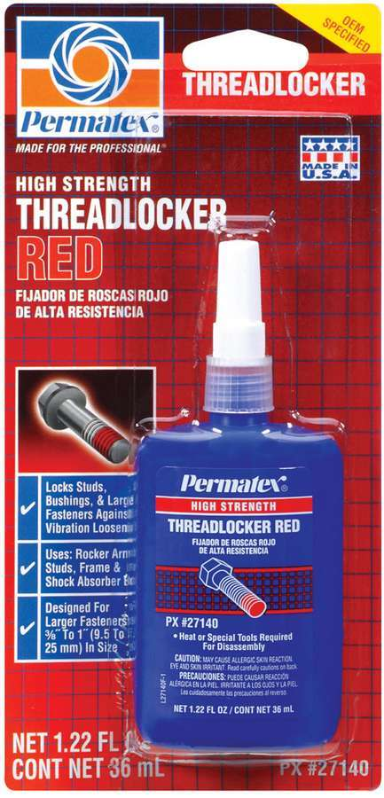 Permatex 27140 Thread Locker, Red, High Strength, 36 ml Bottle, Each