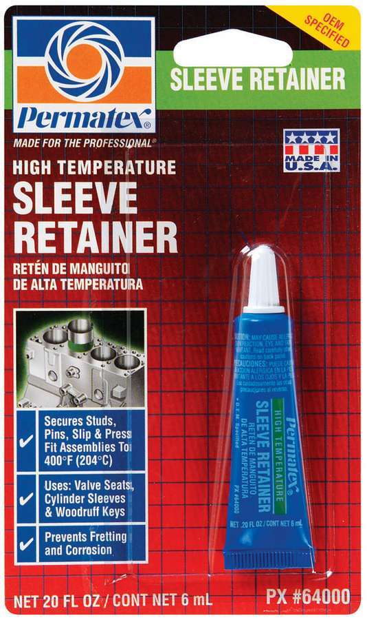 Permatex 64000 Thread Locker, High Temperature Sleeve Retainer, 6 ml Tube, Each