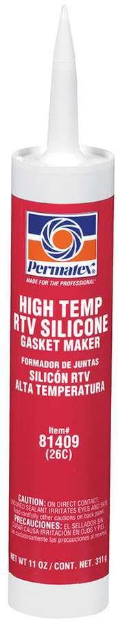 Permatex 81409 Sealant, High Temperature Red RTV, Silicone, 11.00 oz Cartridge, Each
