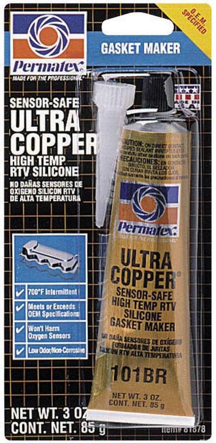 Permatex 81878 Sealant, Ultra Copper Maximum Temperature RTV, Silicone, 3.00 oz Tube, Each