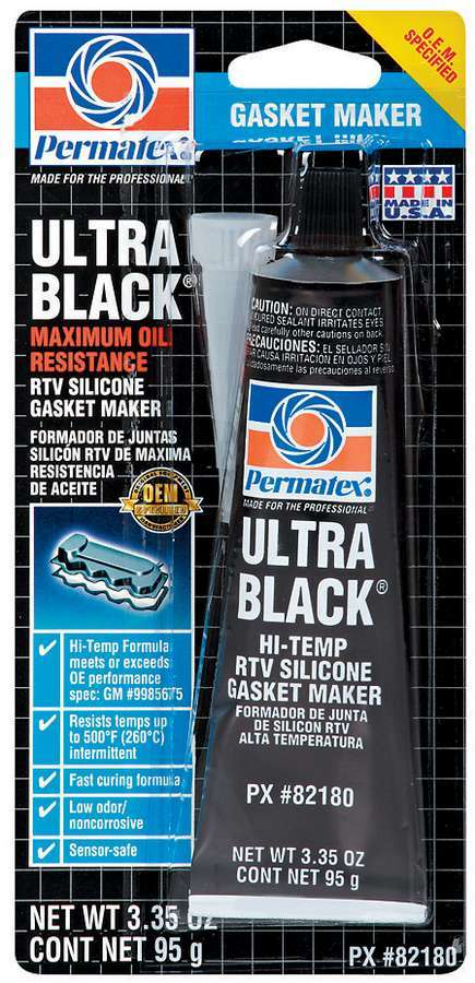 Permatex 82180 Sealant, Ultra Black, Silicone, 3.35 oz Tube, Each