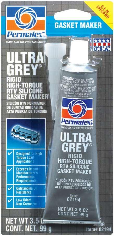 Permatex 82194 Sealant, Ultra Gray, Silicone, 3.50 oz Tube, Each