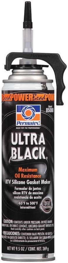 Permatex 85080 Sealant, Ultra Black, Silicone, 9.50 oz Aerosol, Each