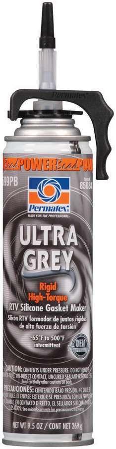Permatex 85084 Sealant, Ultra Gray, Silicone, 9.50 oz Aerosol, Each