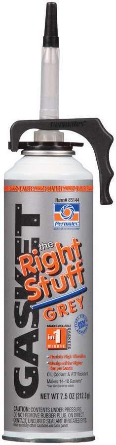Permatex 85144 Sealant, The Right Stuff, Silicone Gray, Silicone, 7.50 oz Aerosol, Each