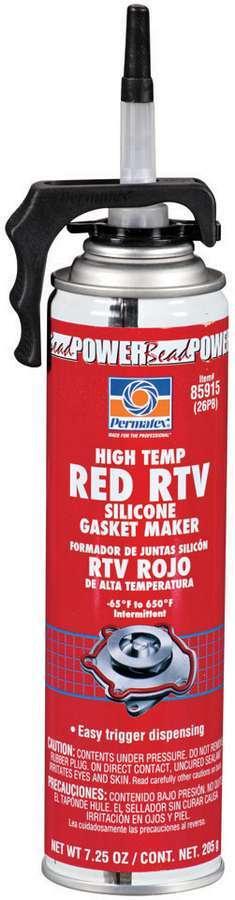Permatex 85915 Sealant, High Temperature Red RTV, Silicone, 7.25 oz Aerosol, Each