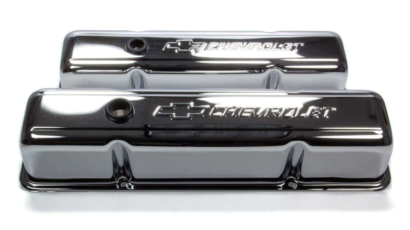 Proform 141-101 Valve Cover, Tall, Breather Hole, Chevrolet Bowtie Logo, Steel, Chrome, Small Block Chevy, Pair