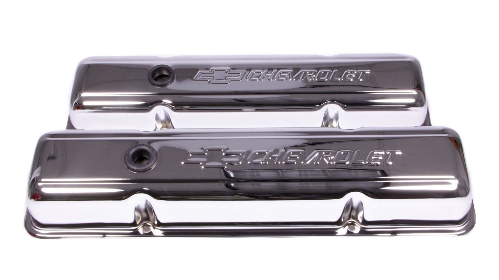 Proform 141-102 Valve Cover, Short, Baffled, Breather Hole, Chevrolet Bowtie Logo, Steel, Chrome, Small Block Chevy, Pair
