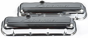 Proform 141-114 Valve Cover, Short, Baffled, Breather Hole, Chevrolet Bowtie Logo, Steel, Chrome, Big Block Chevy, Pair