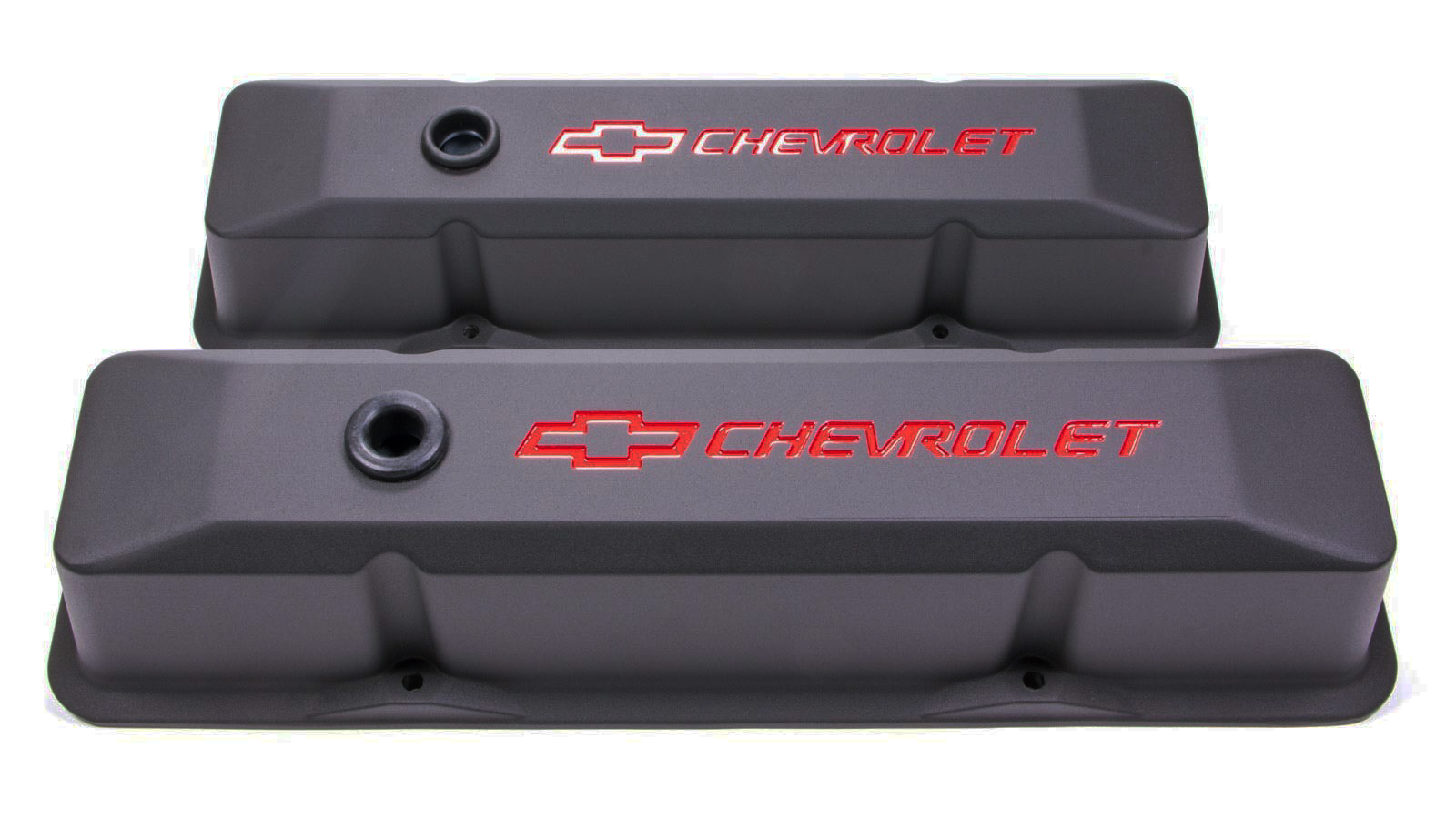 Proform 141-116 Valve Cover, Die-Cast, Tall, Baffled, Breather Hole, Recessed Chevrolet Bowtie Logo, Aluminum, Black Crinkle, Small Block Chevy, Pair