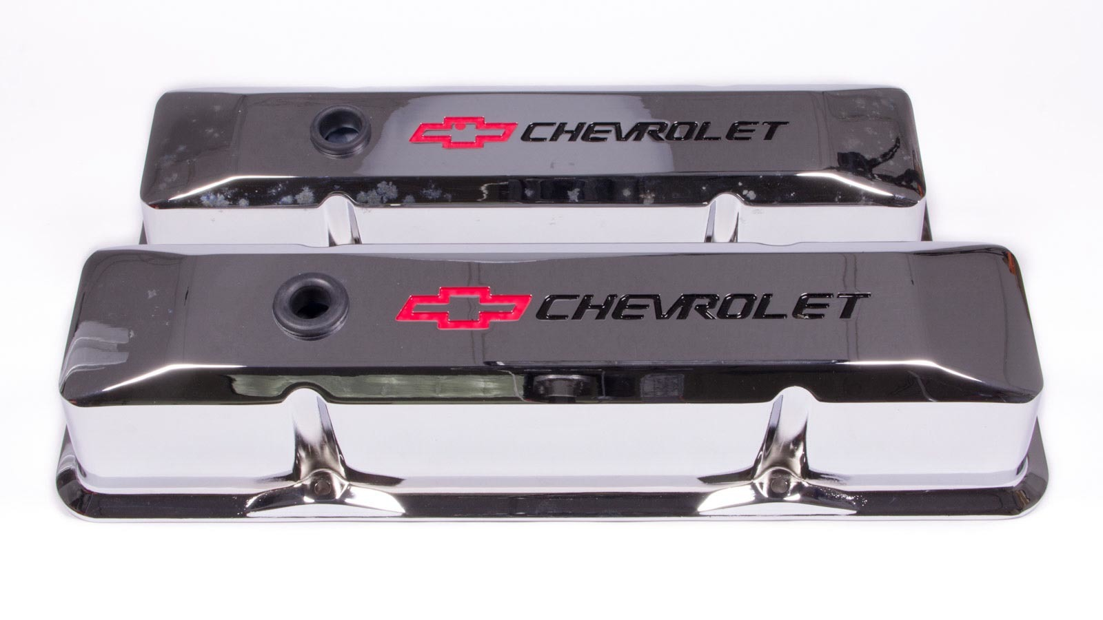 Proform 141-117 Valve Cover, Die-Cast, Tall, Baffled, Breather Hole, Recessed Chevrolet Bowtie Logo, Aluminum, Chrome, Small Block Chevy, Pair