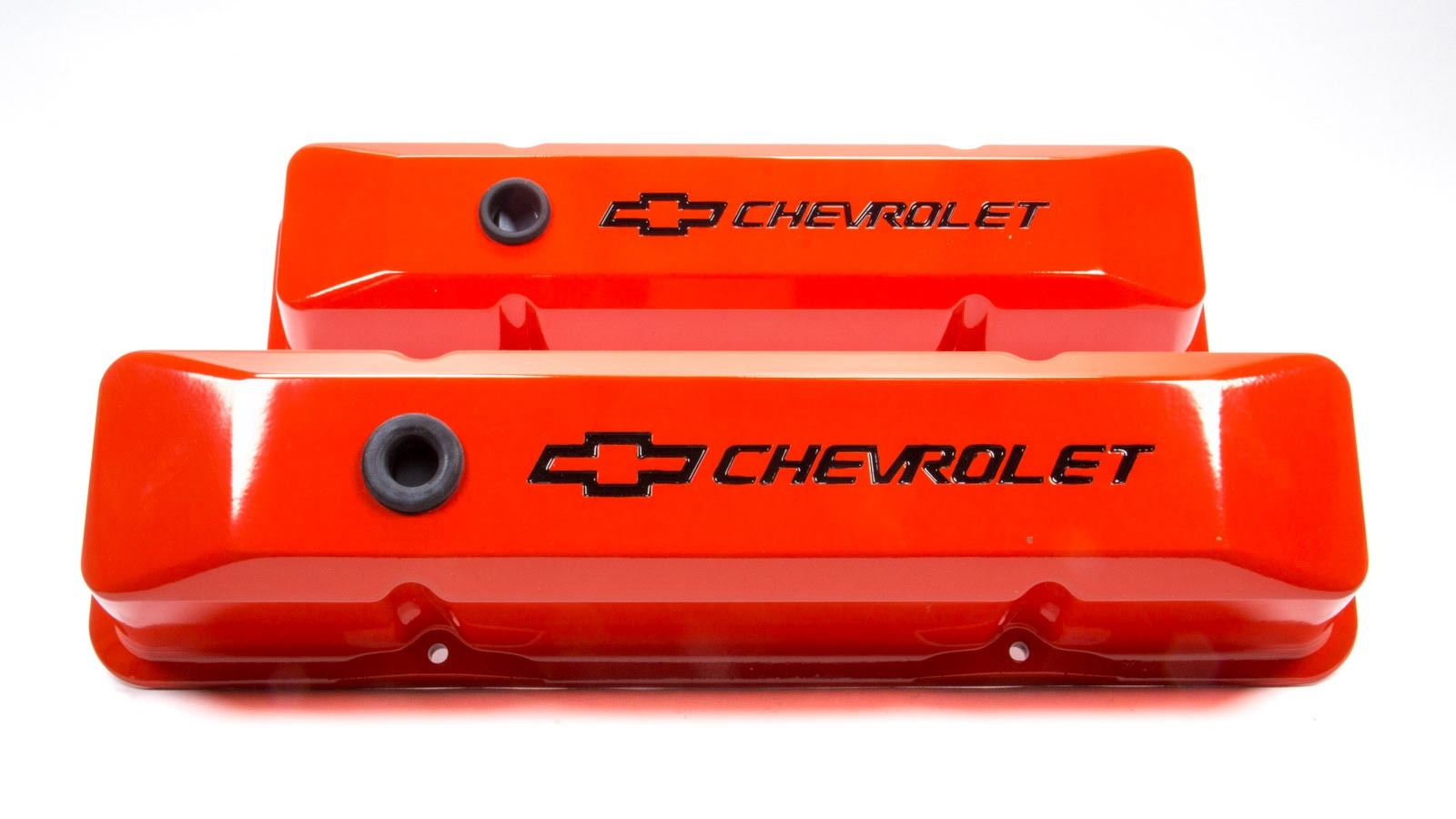 Proform 141-118 Valve Cover, Die-Cast, Tall, Baffled, Breather Hole, Recessed Chevrolet Bowtie Logo, Aluminum, Orange Powder Coat, Small Block Chevy, Pair