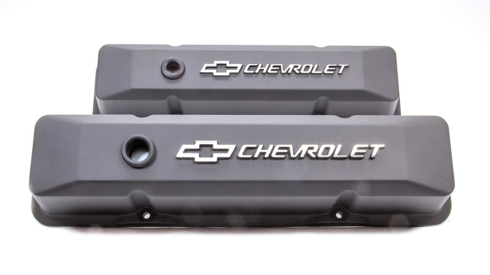 Proform 141-119 Valve Cover, Die-Cast, Tall, Baffled, Breather Hole, Raised Chevrolet Bowtie Logo, Aluminum, Black Crinkle, Small Block Chevy, Pair