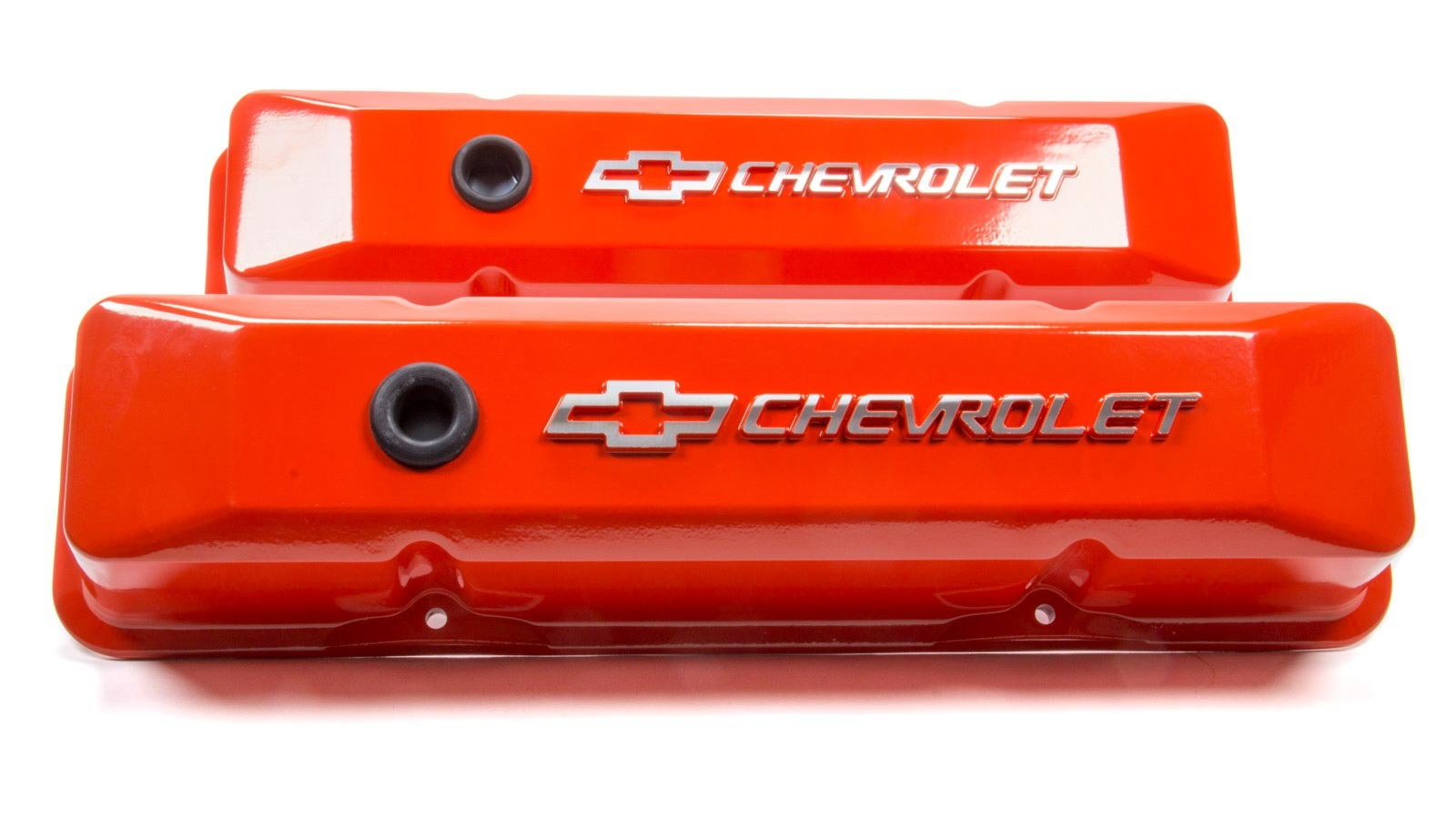 Proform 141-120 Valve Cover, Die-Cast, Tall, Baffled, Breather Hole, Raised Chevrolet Bowtie Logo, Aluminum, Orange Powder Coat, Small Block Chevy, Pair