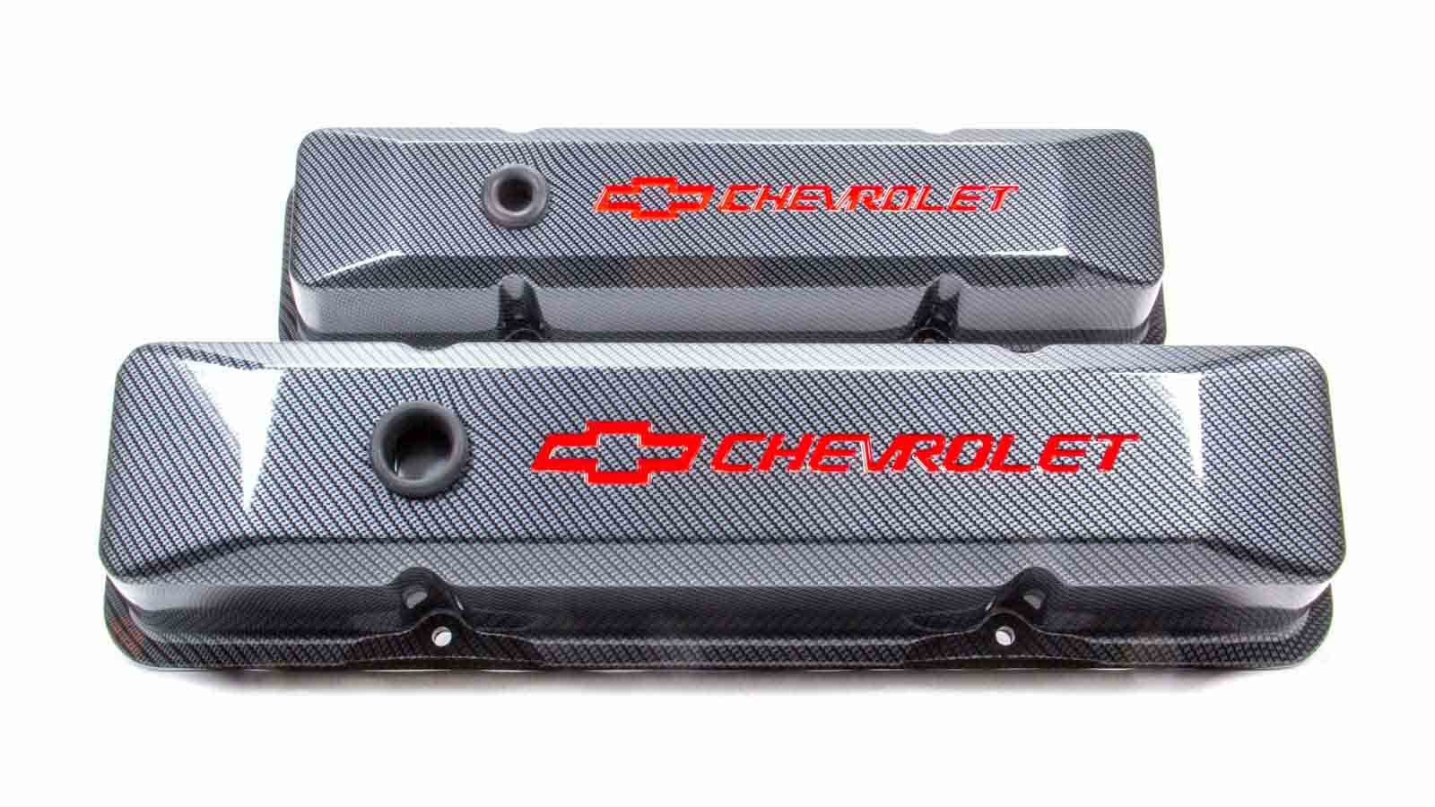 Proform 141-121 Valve Cover, Die-Cast, Tall, Baffled, Breather Hole, Recessed Chevrolet Bowtie Logo, Aluminum, Carbon Fiber Look, Small Block Chevy, Pair