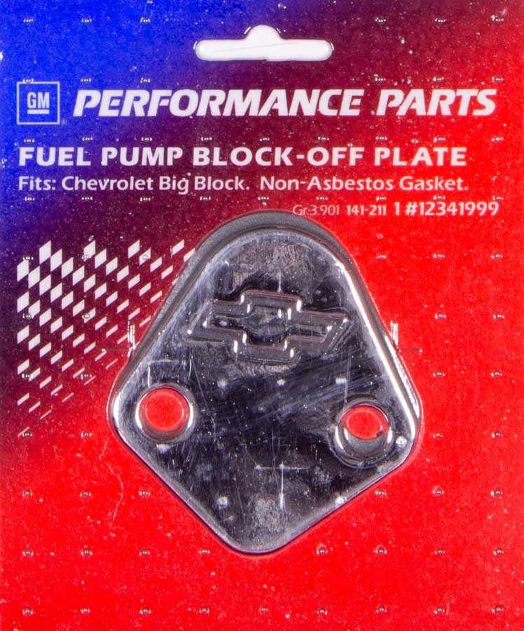 Proform 141-211 Fuel Pump Blockoff, Bowtie Logo, Steel, Chrome, Big Block Chevy, Each