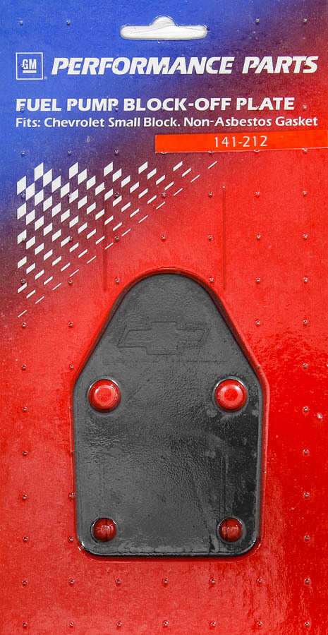 Proform 141-212 Fuel Pump Blockoff, Bowtie Logo, Steel, Black, Small Block Chevy, Each