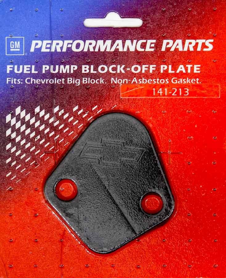 Proform 141-213 Fuel Pump Blockoff, Bowtie Logo, Steel, Black, Big Block Chevy, Each