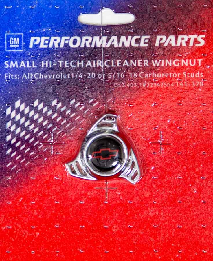 Proform 141-328 Air Cleaner Nut, Small, 1/4-20 and 5/16-18 in Threads, Black / Red Bowtie Logo, Aluminum, Chrome, Each
