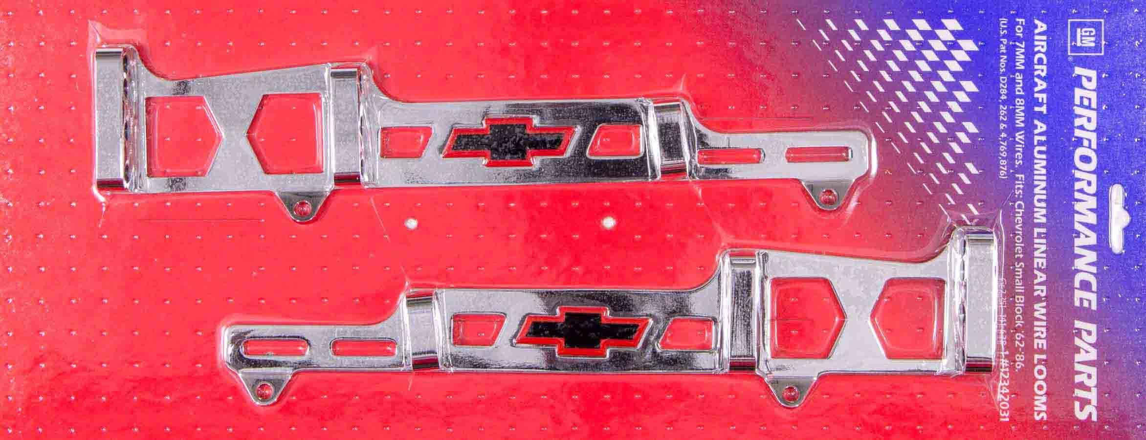 Proform 141-638 Spark Plug Wire Loom, Valve Cover Mount, 7-8 mm, Bowtie Logo, Aluminum, Chrome, Small Block Chevy, Kit