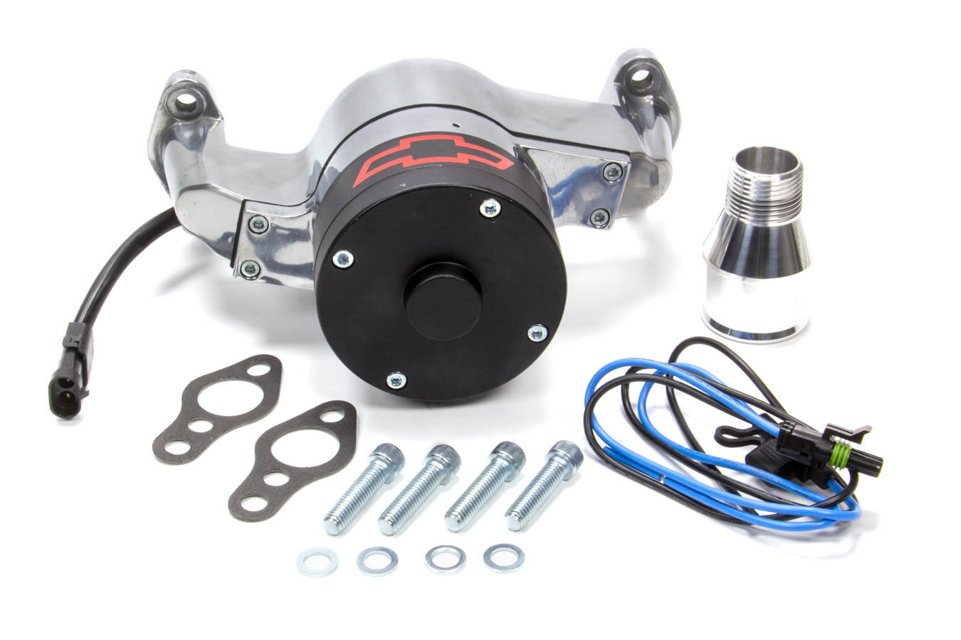 Proform 141-654 Water Pump, Electric, 1 in NPT Female Inlet, Adapter / Gaskets / Hardware, Bowtie Logo, Billet Aluminum, Polished, Small Block Chevy, Kit