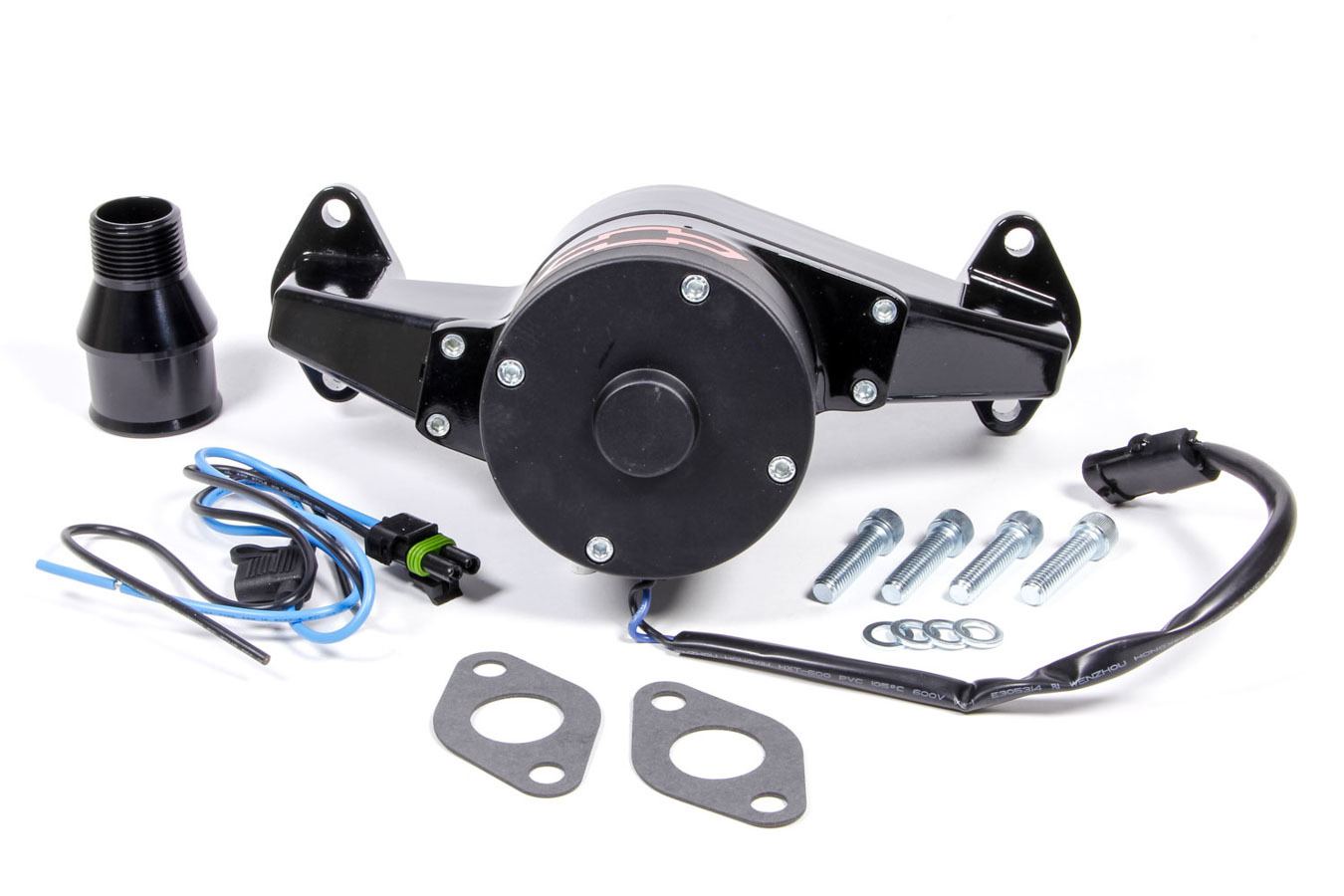 Proform 141-674 Water Pump, Electric, 1 in NPT Female Inlet, Adapter / Gaskets / Hardware, Bowtie Logo, Billet Aluminum, Black Powder Coat, Big Block Chevy, Kit