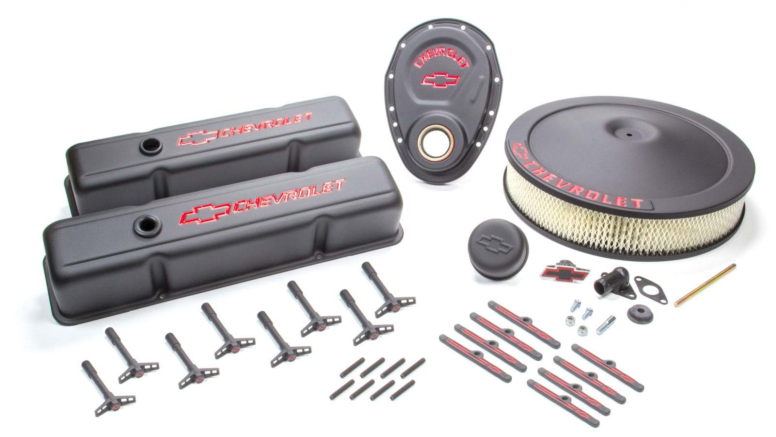 Proform 141-758 Engine Dress Up Kit, Air Cleaner / Tall Valve Covers / Breather / Hardware / Timing Cover, Chevy Logo, Steel, Black Crinkle, Small Block Chevy, Kit